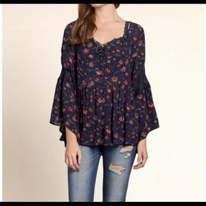 Boho Hollister Bell sleeve top